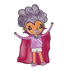 Grated boy vampire with cape and curly hair vector