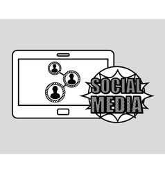 Hand drawing group social media mobile vector