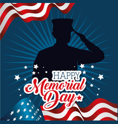 Happy memorial day card with soldier silhuette vector