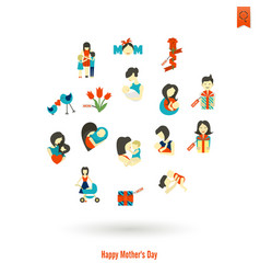 Happy mothers day icons vector