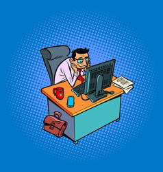 Happy smiling male businessman works at an office vector