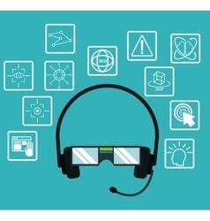 Headset glasses virtual reality electronic data vector