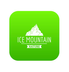 ice mountain icon green vector image