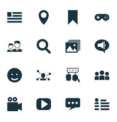 Internet icons set with bookmark promote chat vector