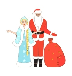 Isolated Santa Claus and Snow Maiden vector image