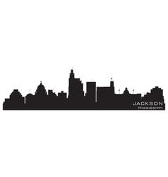 Jackson mississippi skyline detailed silhouette vector