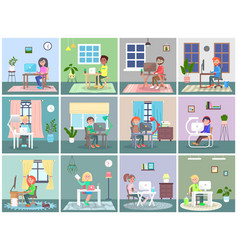large set people working at computers people vector image