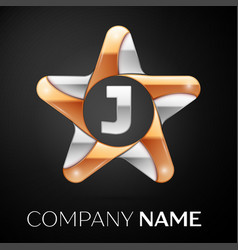 letter j logo symbol in the colorful star on black vector image