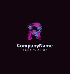 letter r modern wave line logo design template vector image