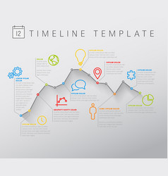 Light infographic timeline with graph vector