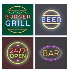 light neon cards labels font vector image