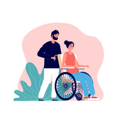 man helping old woman in wheelchair and young vector image