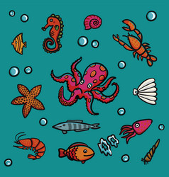 Marine life in cartoon style on a blue background vector