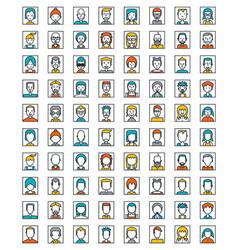 mega set avatars flat style design vector image
