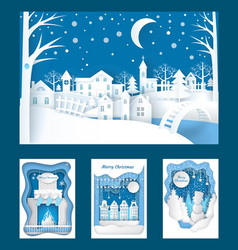 merry christmas paper cuts town and nature vector image