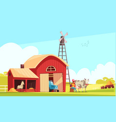 Milk farm outdoor composition vector