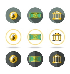 Money and banking icons set In different flat vector