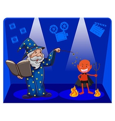 Movie magic with wizard and devil vector