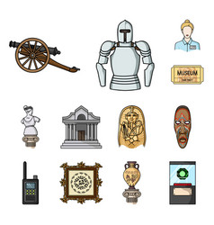 Museum and gallery cartoon icons in set collection vector