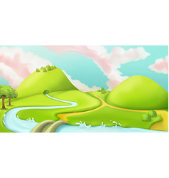 Nature landscape cartoon game background graphic vector