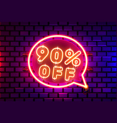 Neon chat frame 90 off text banner night sign vector