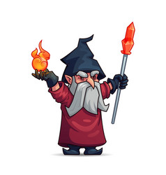 Old wizard sorcerer or magician cartoon character vector
