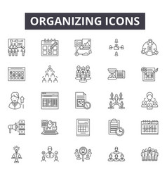 Organizing line icons signs set linear vector