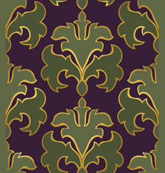 Oriental green and purple ornament vector