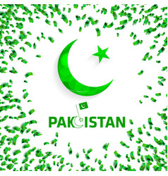Pakistans flag moon and star for independence day vector