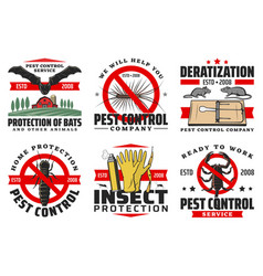 Pest control service isolated icons set vector