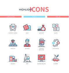 Poker and gambling - line design style icons set vector