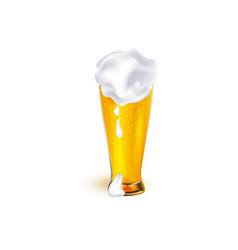realistic glass of golden beer with foam vector image