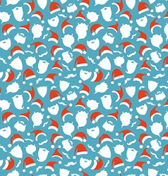 Seamless pattern of Santa hats moustache and vector image