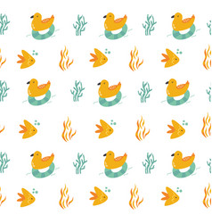 seamless pattern with cheerful seagulls and fishes vector image