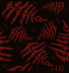seamless pattern with fern red on a black vector image
