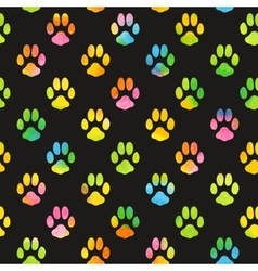 Seamless pattern with watercolor animal footprint vector image