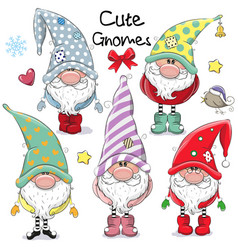 Set cute cartoon gnomes vector
