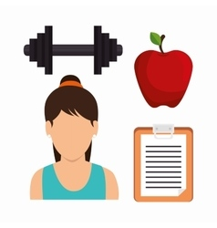 set fitness girl apple barbell clipboard vector image