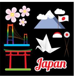 set greatest japan symbols vector image