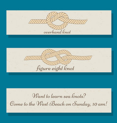 Set of flyer templates with sea knots theme vector