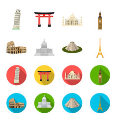 sights of different countries cartoonflat icons vector image