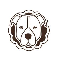 Silhouette card with head cute dog vector