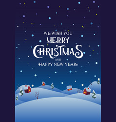 snowy night village with text merry christmas and vector image