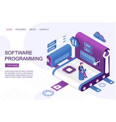 Software development isometric landing page vector