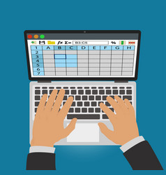 Spreadsheets work on laptop vector