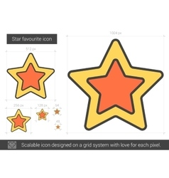 Star favourite line icon vector
