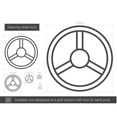 Steering wheel line icon vector