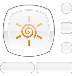 Sun white button vector