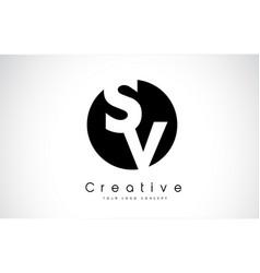Sv letter logo design inside a black circle vector