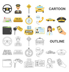Taxi service cartoon icons in set collection for vector